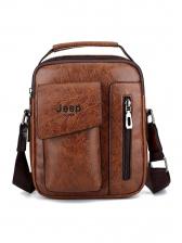 Vintage Solid Zipper Men Shoulder Bag