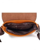 Casual Contrast Color Covered Mens Leather Messenger Bag