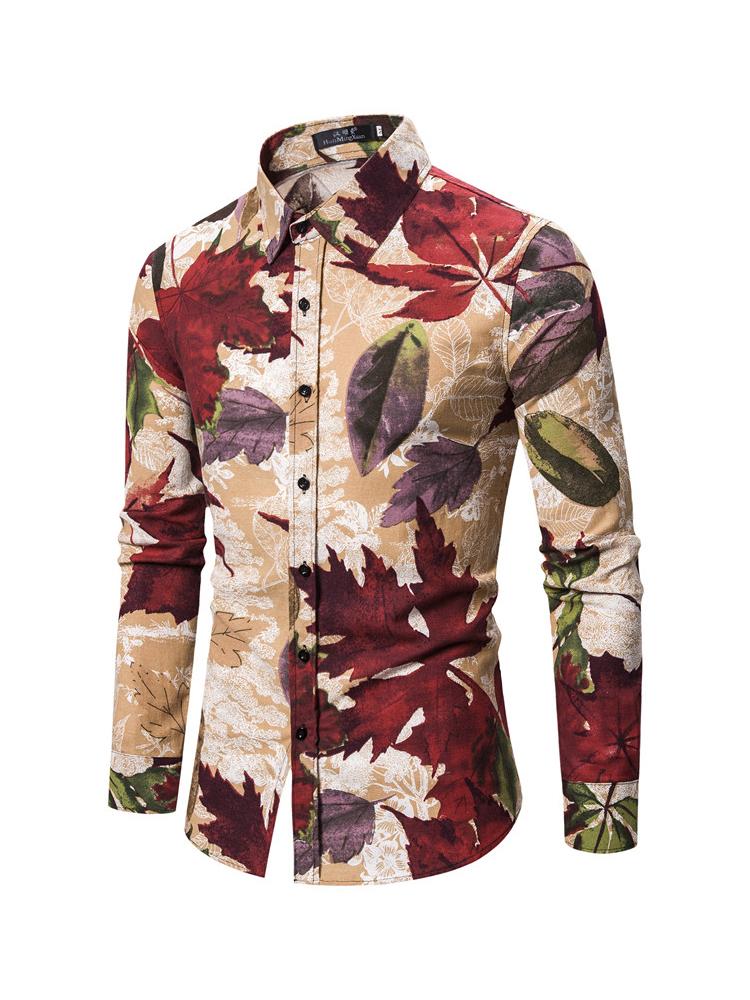 Fashion Leaves Printed Long Sleeve Shirts