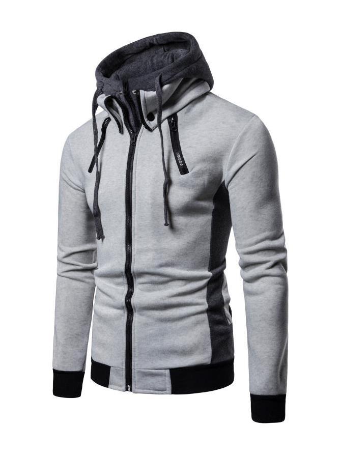 Casual Contrast Color Men Zip Up Hoodies