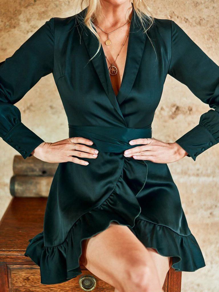 Ruffle Hem Solid Wrap Long Sleeve Dress