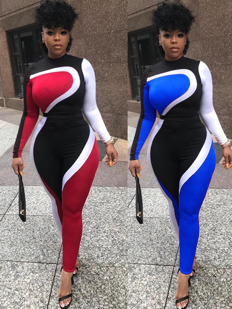 Crew Neck Contrast Color Skinny Ladies Sportswear