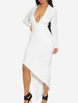 Irregular Long Sleeve Deep V White Dress