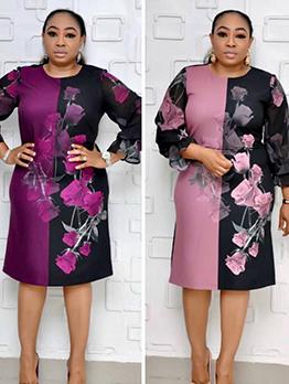 Flower Printed Contrast Color Ruffled Long Sleeve Dress