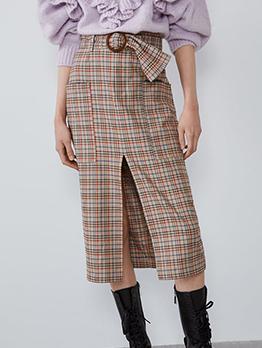 Trendy Split Plaid Skirt With Belt