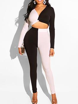 Contrast Color Cropped Ladies Trouser Suits