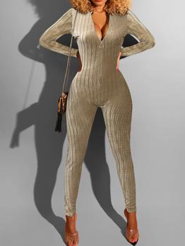 Sexy Zipper Up Long Sleeve Velvet Jumpsuit