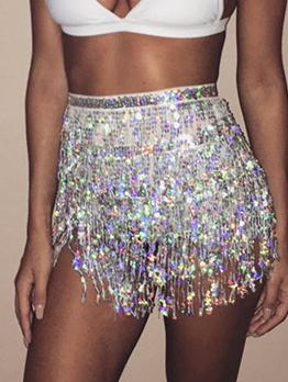 Night Club Glitter Sequined Tassel Women Mini Skirt