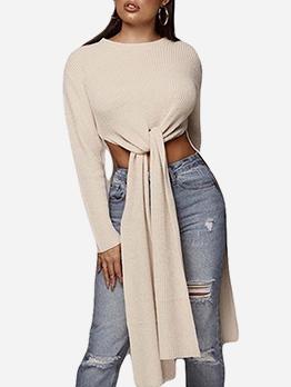 Solid Tie-Wrap High Low Hem Long Sleeve T Shirt