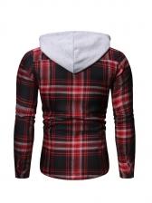 Hooded Button Down Male Plaid Shirt