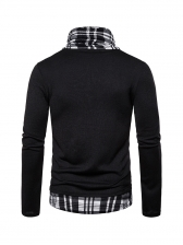 Plaid Patchwork Long Sleeve Sweaters For Men