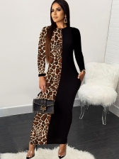 Long Sleeve Leopard Printed Casual Maxi Dresses