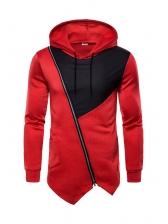 Hot Sale Inclined Zip Contrast Color Men Hoodie