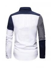 Slim Contrast Color Long Sleeve Shirts