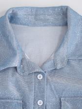 Glitter Turndown Collar Loose Long Sleeve Jumpsuit