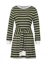 Striped Tie Front Long Sleeve Sweater Dress