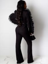 Fashion Organza Patchwork Women Office Suit