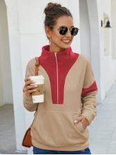 Contrast Color Kangaroo Pocket Zip Up Hoodies