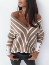 Off Shoulder V Neck Stitching Color Striped Cotton T Shirt