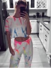 Contrast Color Printed Elastic Waist Women Track Pants