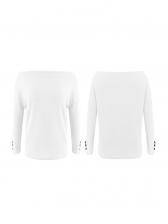 Autumn Boat Neck Solid Color Women Cotton T Shirt