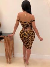 Back Bandage Leopard Sleeveless Bodycon Dress