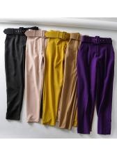Solid High Waist Long Pants For Women