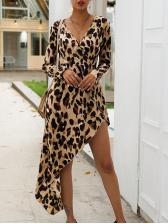 Leopard Printing High-Low Irregular Midi Dress
