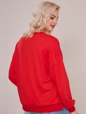 Split Hem Red Long Sleeve Sweatshirt For Women