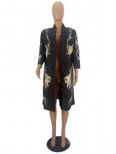 Trendy Sequined Hands Printed Women Long Cardigan
