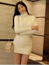 Long Sleeve Ribbed White Knitted Short Dress