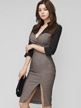 Patchwork Split Long Sleeve V Neck Dress