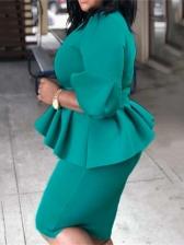 Plus Size Ruffled Hem Long Sleeve Bodycon Dress
