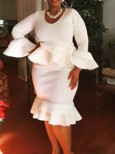Elegant Ruffled Hem Long Sleeve Plus Size Dresses