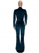Sexy Low Cut Solid Color Velvet Long Sleeve Jumpsuit