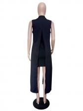 Solid Back Split Sleeveless Long Coat