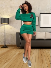 Letter Green Crop Top And High Waisted Skirt Set