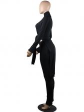 High Neck Irregular Top With Long Pants