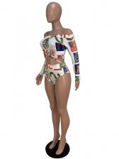 Boat Neck Color Block Printed Two Piece Swimwear