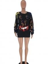 Fashion Sequined Lip Crewneck Sweatshirt