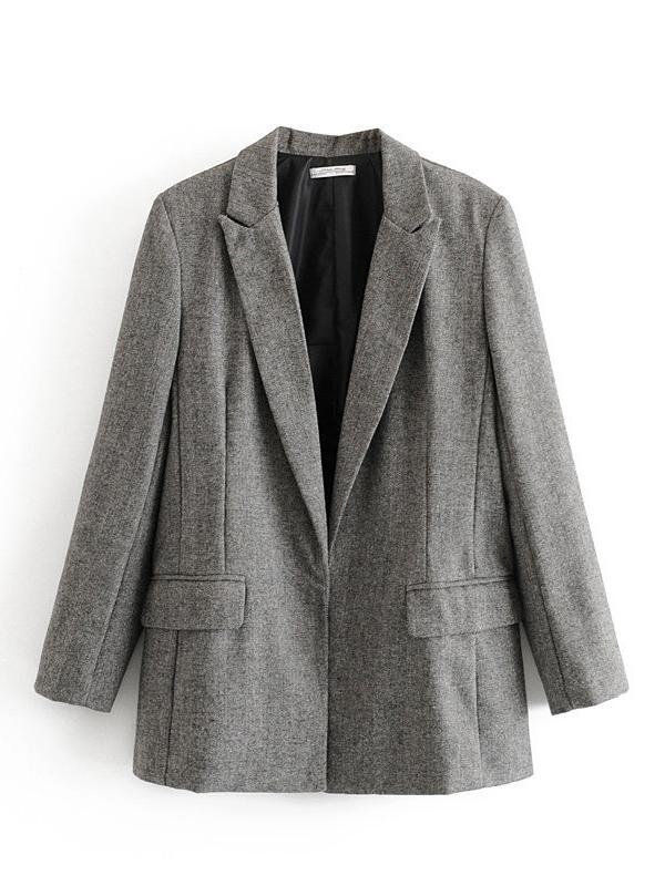 OL Style Pure Color Long Ladies Blazer