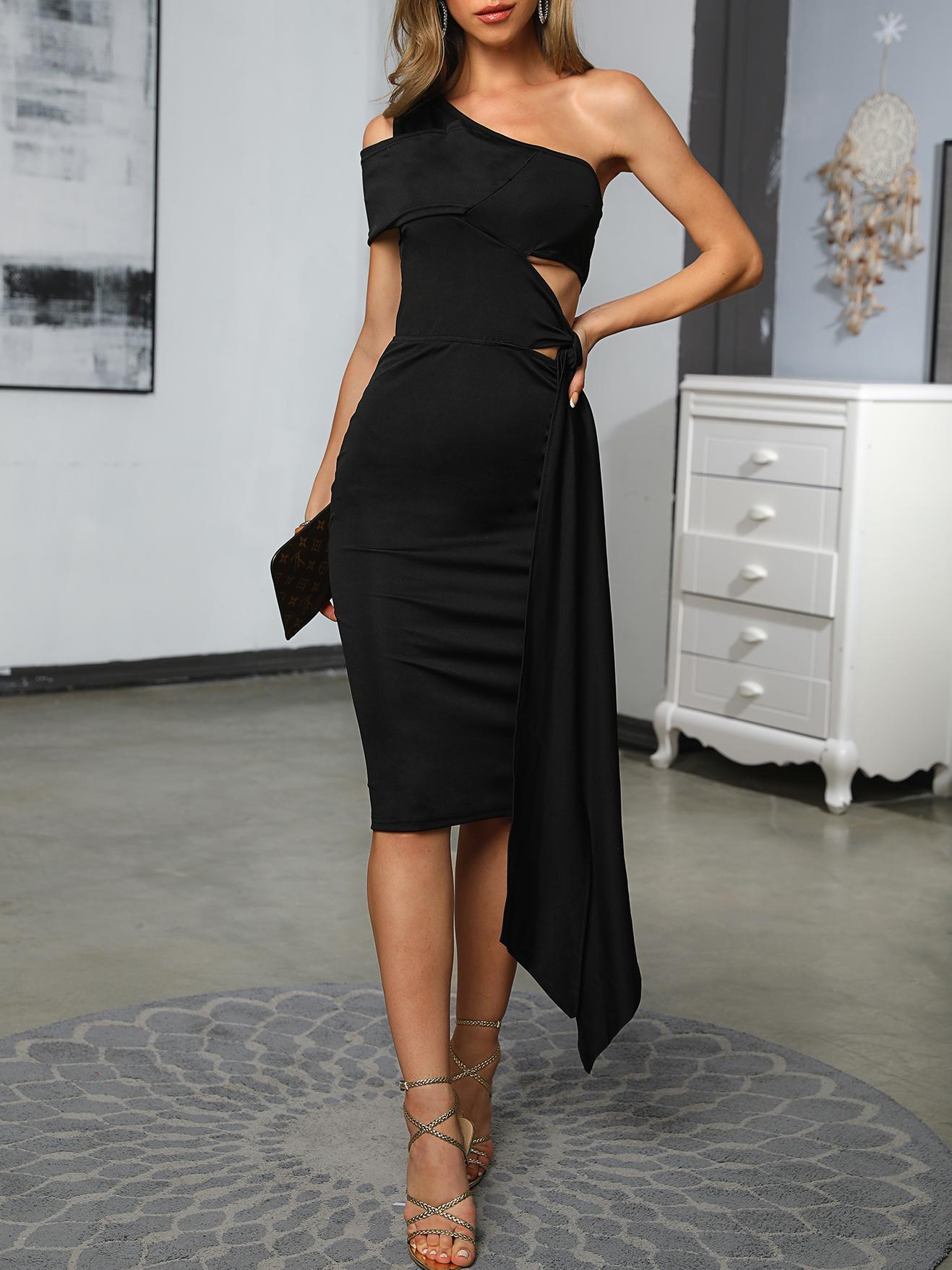 Inclined Shoulder Tied Black Short Sleeve Dress