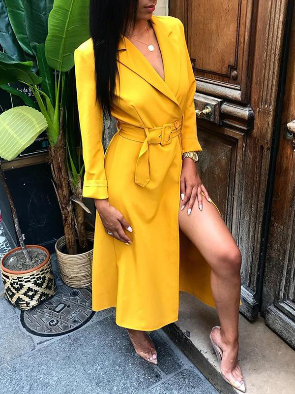 Ol Style Solid Long Sleeve Yellow Blazer Dress