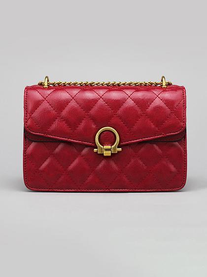 Sewing Thread Rhombus Golden Chain Shoulder Bag