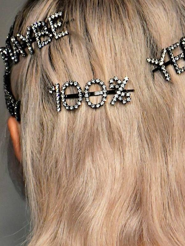 Chic Shiny Letter Rhinestone Hair Clips