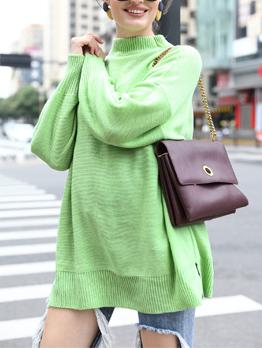 Minimalist Bright Color Cotton Sweaters For Women