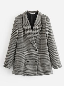 OL Style Houndstooth Long Gray Blazer