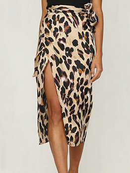 Leopard Printed Split Midi Skirt