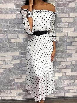 Off The Shoulder Polka Dots Midi Dress