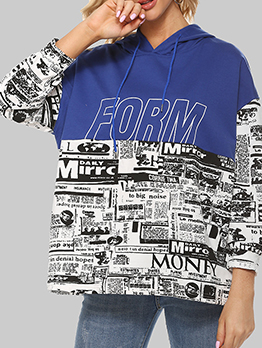 Contrast Color Newspaper Printed Pullover Hoodie